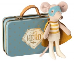 Maileg Superbohater w walizce, Superhero mouse, Little brother in suitcase