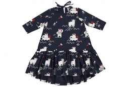 Kukukid Sukienka Dancing dress Navy Blue Polar Bear