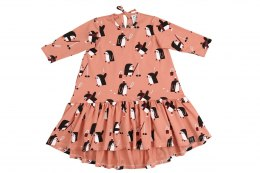 Kukukid Sukienka Dancing dress Pink Penguin