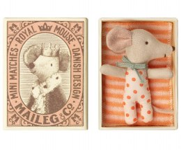 Maileg Myszka Baby - Baby mouse, Sleepy/wakey in box - Girl