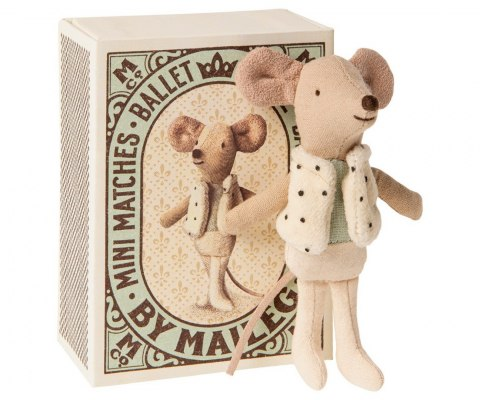 Maileg Myszka Tancerz - Dancer in matchbox, Little brother mouse